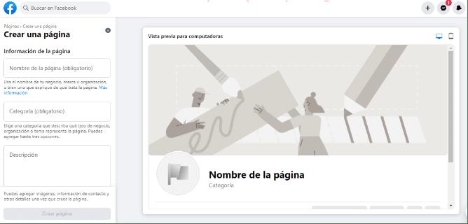 Crear Página de Fans en Facebook Paso 1
