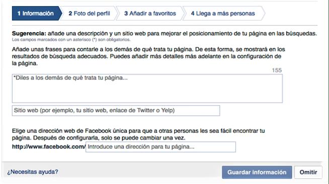 Crear Página de Fans en Facebook Paso 2