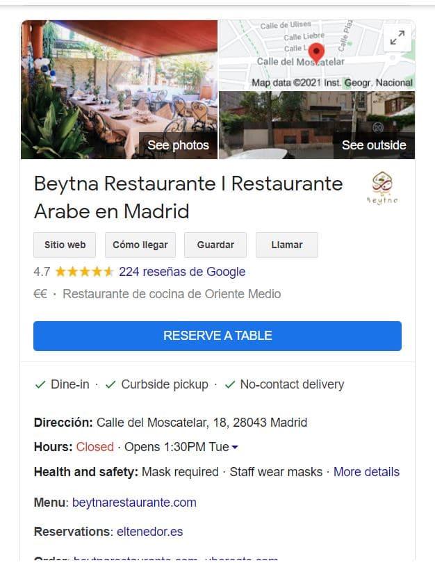 Actualizar ficha de Google My Business restaurantes