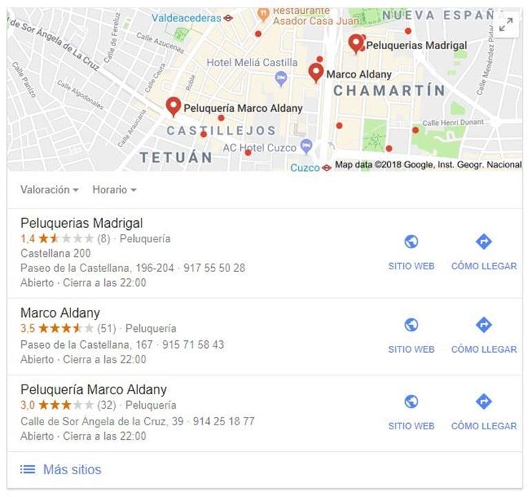 Búsqueda Google My Business Ejemplo