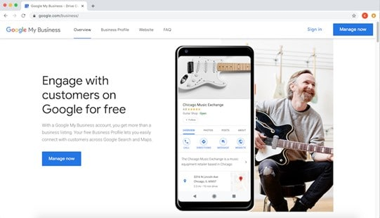 Página principal Google My Business