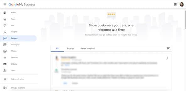 Panel de reseñas Google My Business
